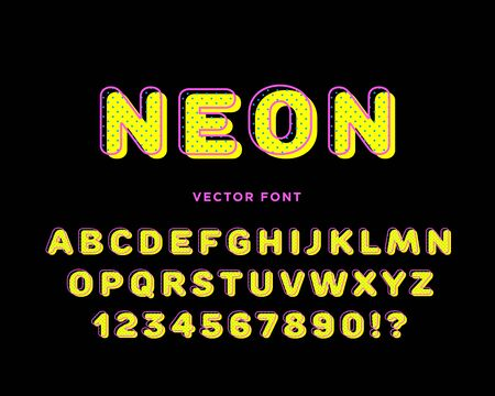 The line art neon colored alphabet vector flat design illustration with the dot pattern. Ilustracja