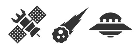 Set of space icons, spaceship, comet, aliens. Good idea and concept for web illustrations. Vector, flat icons. Very easy to edit. Vectores
