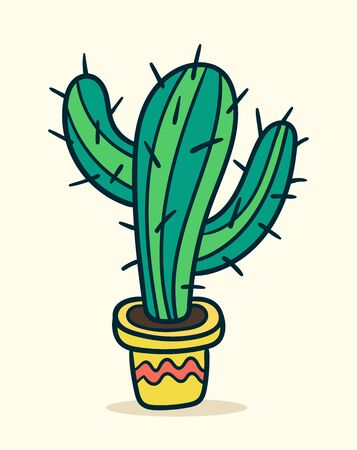 vector design illustration with the cutest cactuses. Love cactus theme. Wallpaper, background design. Ilustracja