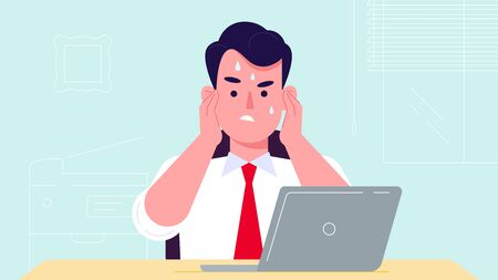 Busy young man office manager seating behind the laptop. flat design vector illustration. Business support idea. Manager working hard in stress.
