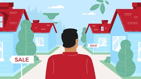 The man character in the cottage city looking for a new house. A lot of ads for sale. Flat design. Perspective view image. Good for animation.