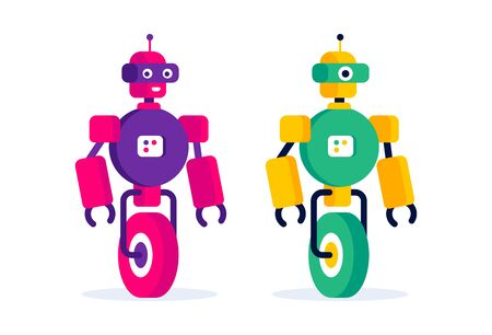 Funny colorfull robot. Simple flat design. Kids category.  Ilustracja