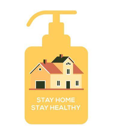 House sanitizer, stay at home, be safe coronovirus concept, good for blogs, advertisement. flat design illustration.