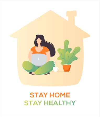 Woman that works from home, be safe concept, Flat design illustration, woman character.