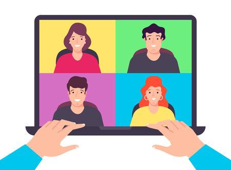Stay home work process, video conference, video call with the team members. Vector flat design illustration. Ilustracja