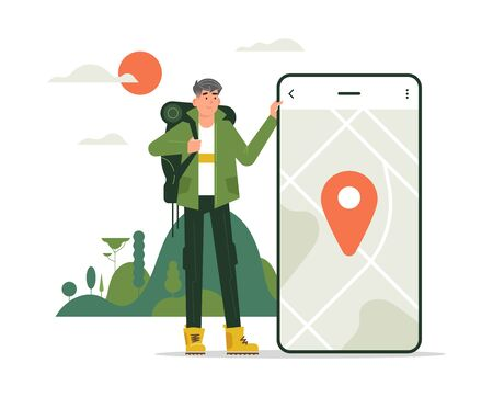 Man tourist character, very cool design, man in mountains with smartphone, app idea and concept. Flat design.