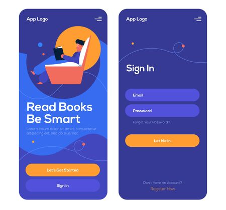 Book app mobile onboarding screens, log in and sign in pages, UI UX web elements. Beautiful simple design.