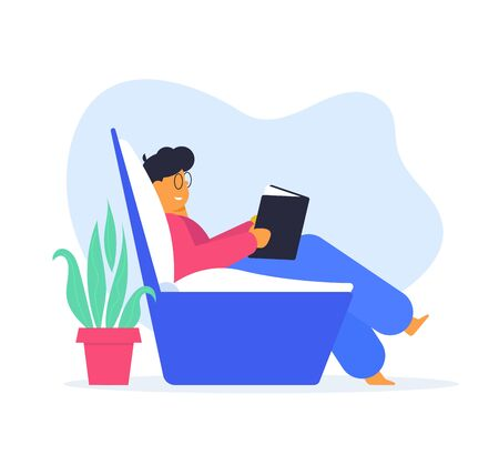 Stay home, be safe concept, man reading the book, simple flat design illustration.
