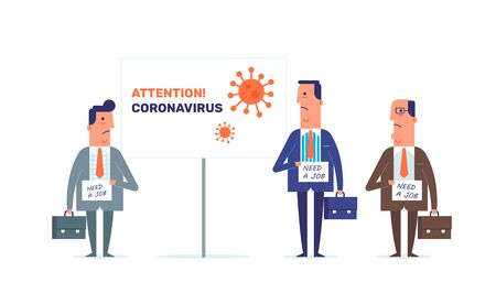 The covid-19 pandemic effects. Economy recession, unemplyment and big depression. Flat design with the men characters. Ilustracja