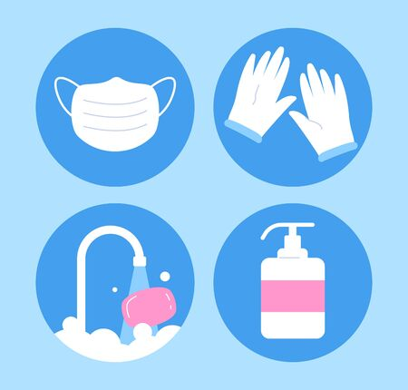 The set of coronovirus icons, protect yourself, the simple things safe the lives.