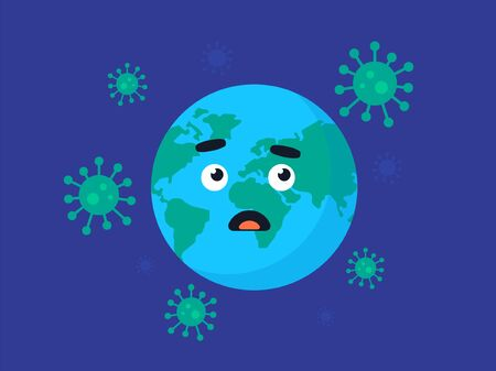 Covid-19 bacteria, danger of pandemic illustration. Flat design.