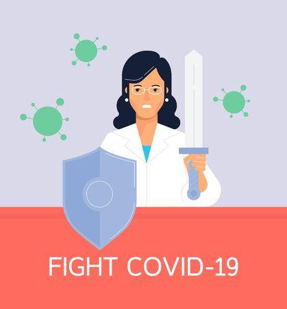 The safeguarding doctor fiting against coronovirus. Flat design vector illustration. Stop pandemic poster.