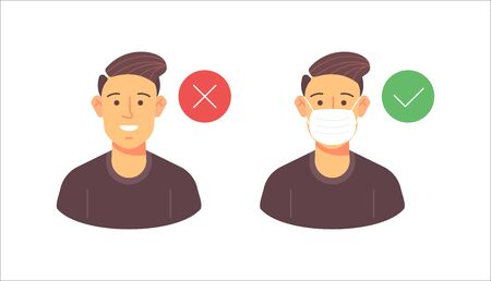 Man in mask and without medicine mask, wrong and wright human attitude. Fkat design vector illustration. Fight against pandemic poster. Ilustracja