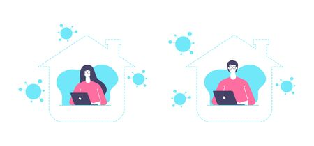Work from home concept, stay home be safe vector design illustration, man and woman are working from home on quarantine.