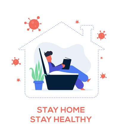 Stay home be safe flat design vector illustration, protect yourself from virus, stop pandemic.