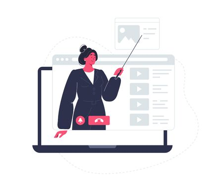 Teacher educated online. On line education concept. Stay and learn home. Video conference flat design illustration.