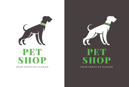 Banner, poster design for pet shop or purposes with the dog silhouette and company text in the center. Vector, flat design.