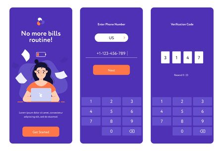 Girl paying the bills flat design web mock ups. App wireframes, mobile screens.