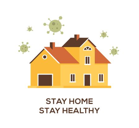 Flat design illustartion, big family house in a quite place. Stay home stay safe concept.