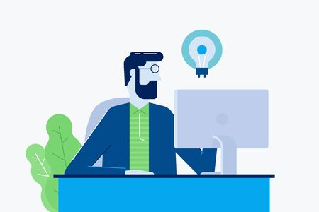 Busy young man office manager seating behind the laptop. flat design vector illustration. Business support idea. Manager working hard with ideas.  Ilustracja