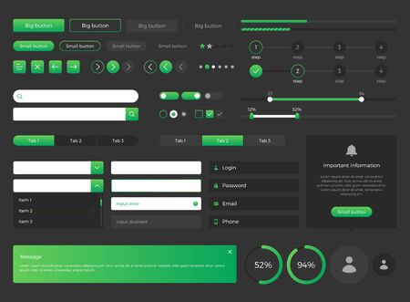 Big, huge, enhanced ui kit for web design, mobile apps with the different buttons, graphics, diagramms, menu, search, tabs and other.  Ilustracja
