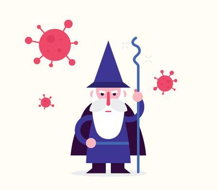 Wizzard with the coronavirus moleculas. Flat design illustration. Fight against covid-19 concept.