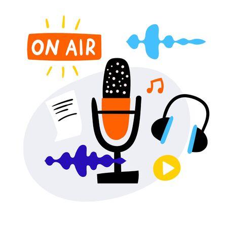 On ait podcast icons set.
