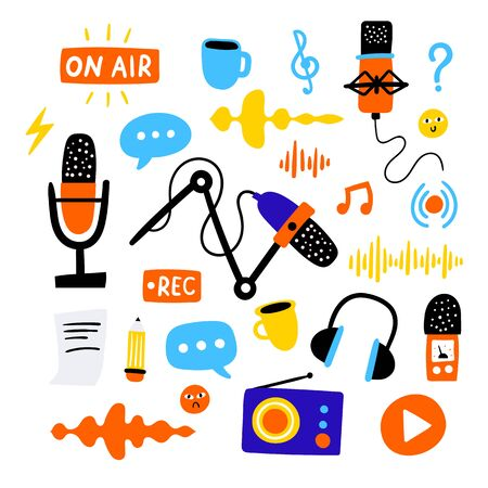 Set of different podcasting stuff