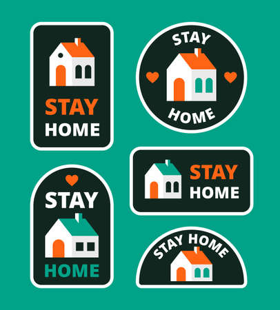 Cute nice flat design vector illustration, sticker pack for social media, stay safe collection.