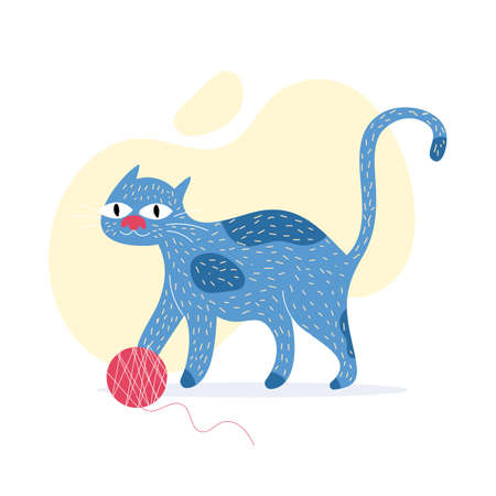 Hand drawn cat in a specific style, cat with the knit ball, wallpaper illustration.