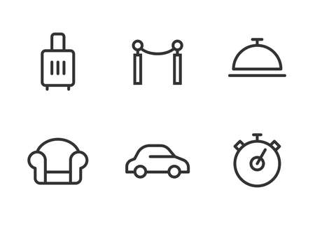 Icon set for airport benefits, fast line, vip terminal, business lounge, transfer to the plane, comfortable trip. Line art. Pixel perfect. Vector design.