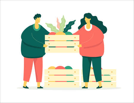 Man and woman character with the fresh fruits in the boxes. Modern flat design vector illustration. Seasonal concept. Travel concept. Eat local concept