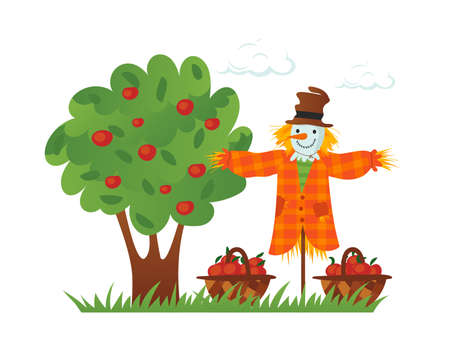 Vector illustration of beautiful autumn landscape, modern hand drawn style. Countryside fall farm thanksgiving symbol - scarecrow and apple tree / Vector illustration.