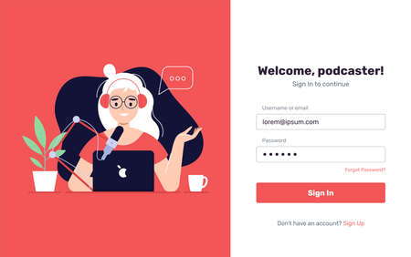 Podcast Onboarding Page Template. Woman Character Making Podcast Internet Digital Recording for Online Broadcasting. Flat Cartoon Vector Illustration for Website Page. - Vector