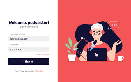 Podcast Onboarding Page Template. Man Character Making Podcast Internet Digital Recording for Online Broadcasting. Flat Cartoon Vector Illustration for Website Page. - Vector