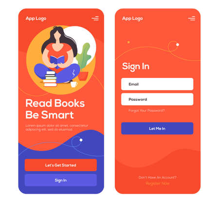 Online reading service mobile application template. UI, UX, GUI design elements. Reading books online application wireframe. Ilustração