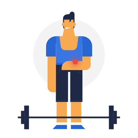 Injured sportsmen, flat vector design illustration. powerman. unsecure sport, hurt during work out Illustration