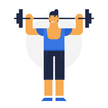 Happy strong sportsmen, flat vector design illustration. powerman. secure sport, no pain during work out