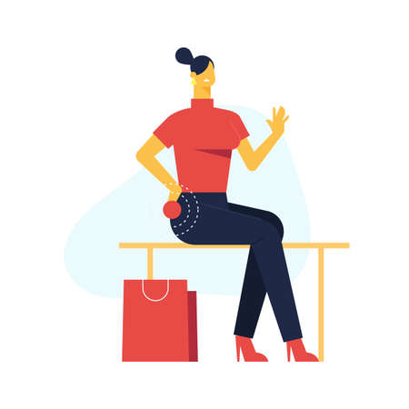 Vector catoon illustration of beautiful woman sitting on the bench and feel hurt. Woman need help. Ilustração