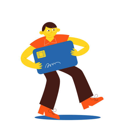 Big man is holding a big card, flat design vector illustration, customer with the bank card. Good for books and tutorials illustration. Illustration