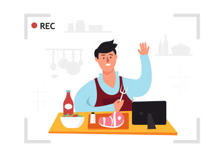 Young man is cooking on his home kitchen and streaming video in social media. Flat design vector illustration. Cool concept.