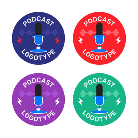 Podcast radio icon illustration set. Studio table microphone with broadcast text on air.