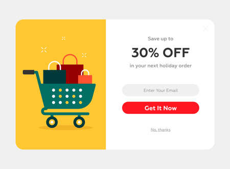 holiday discount popup with the cart full of present boxes, web form, winter holidays celebration Illustration