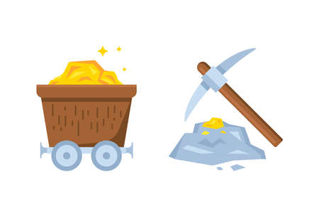 gold mining illustration for online gaming, signs and symbols of games app, simple flat design. Ilustração