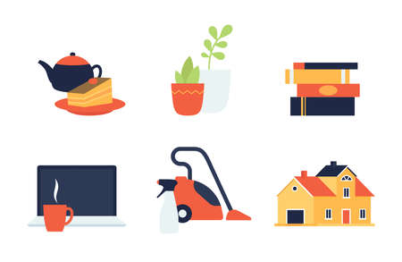home things icons vector flat design, home time spending, houseworks and rest.