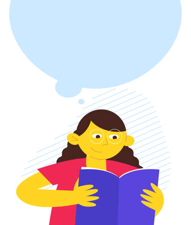 reading girl character, contemporary design, flat design vector illustration, girl with the book