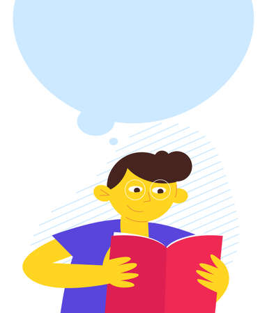 reading boy character, contemporary design, flat design vector illustration, boy with the book