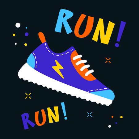 run sneakers colorful design, flat vector illustration, modern art Ilustração