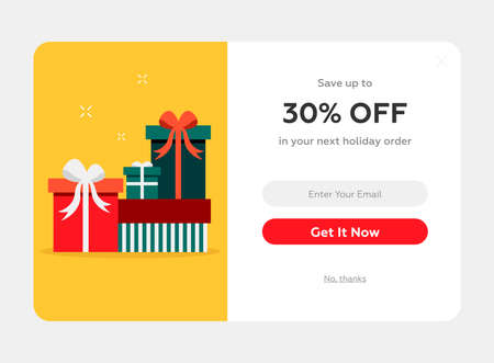 holiday discount popup with the present boxes, web form, winter holidays celebration Ilustração