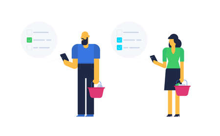 social distancing in a queue, time spending waiting concept, people looking in a phones, while standing in a grocery store queue. flat design vector illustration. Ilustração